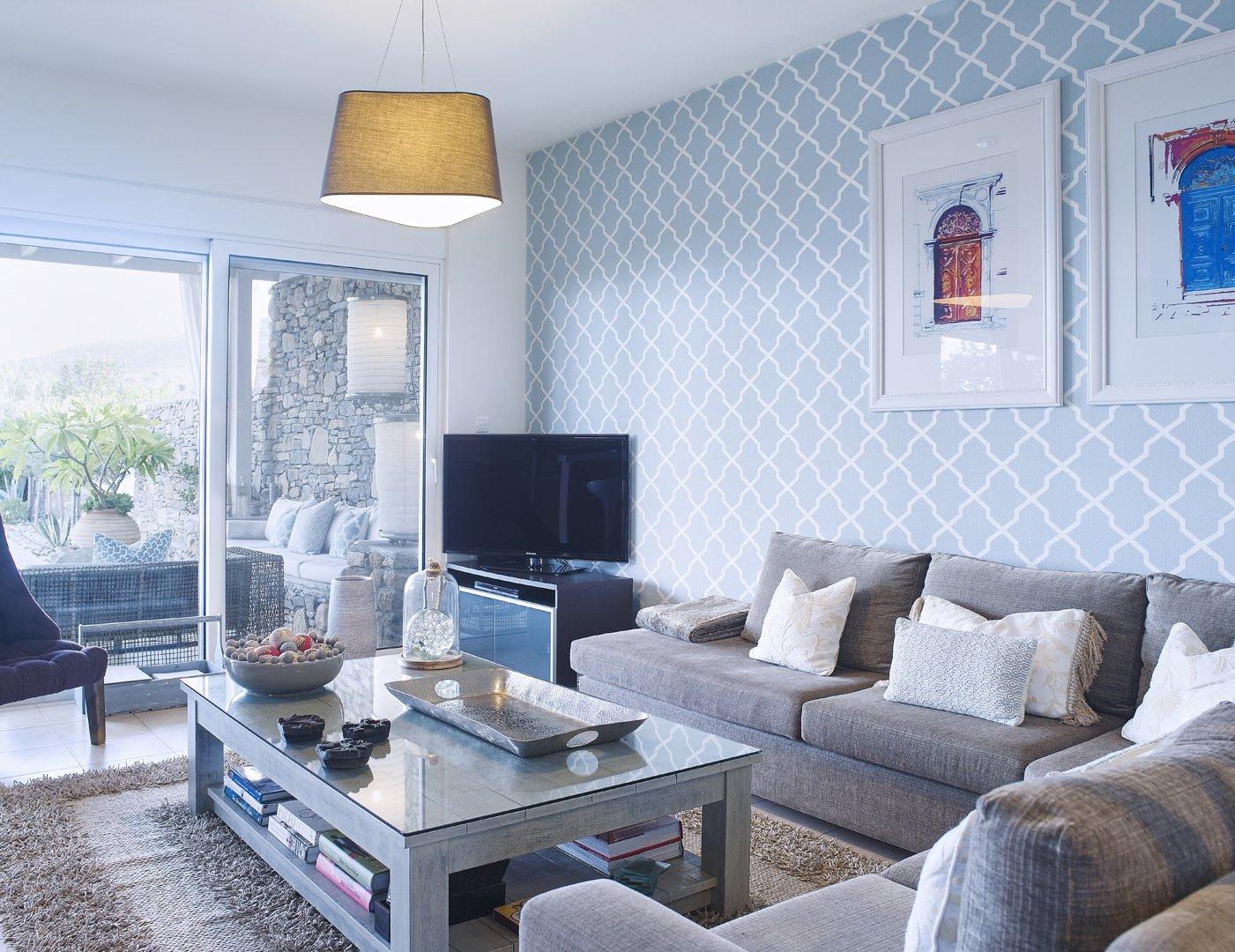 Singing The Duck Egg Blues Rhodes Luxury Villa Blue Living Room Wallpaper